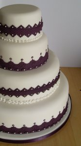 Lace trim wedding cake