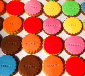 Bee's Bakery - embossed cookies close up MAD COLOUR